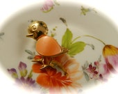"Vintage Thermostat Jelly Belly Bird Brooch, Gold With Orange Wing: ""Little Birdie"""