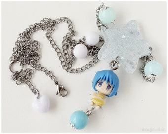 Fairy Kei, Puella Magi Madoka Magika, Miki Sayaka Necklace, Beaded Stainless Steel Chain - Magical Girl, Kawaii