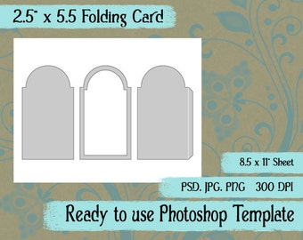 """Scrapbook Digital Collage Photoshop Template, 2 1/2"""" x 5 1/2"""" Folding Card or Triptych"""