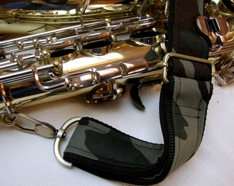 "Saxophone Neck Strap, 1.5"", Heavy Duty, Cammo Fabric, Brass Hardware"