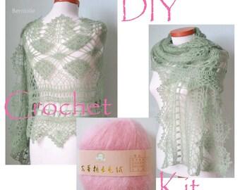 DIY Crochet Kit, Crochet shawl kit, MISITU, PINK, yarn and pattern