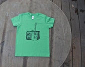 Fender Guitar and Amp T-Shirt / Rock and Roll Grass Green American Apparel Tee for Kids