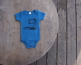 Old School IMac Computer  Design on Galaxy Blue American Apparel Baby Onesie Organic