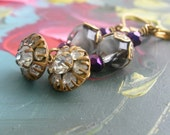 Antique Rhinestone Button Earring