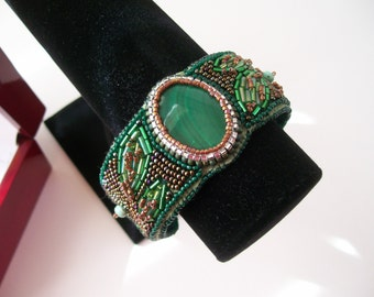 Green With Envy - Hand Embroidered Beaded Cuff Bracelet Bead Embroidery