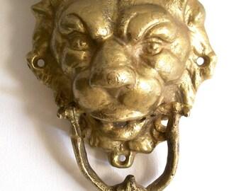 Door Knocker, Lions Head Door Knocker Brass, Brass Door Knocker