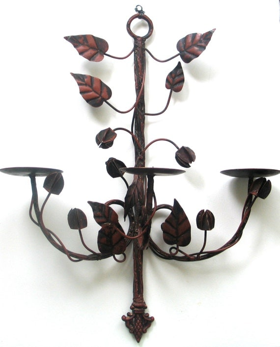 Candle Sconce Metal Leaves Wall Hanging Large Red Painted Wall