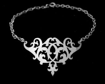 Sterling Silver Ornate Floral Flourish Small Dainty Chain Bracelet - RENAISSANCE SOIREE