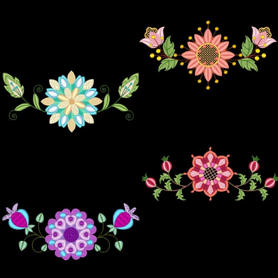 Floral borders inch machine embroidery designs instant