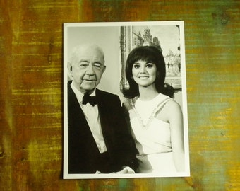 Vintage Promotional B & W Glossy on the set of That Girl with Marlo Thomas and Cecil Kellaway as Mr. Andrew Washington