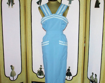 Japan Air Lines Powder Blue and White Dress Apron. Medium.