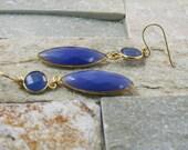 Statement earrings, bezel set stones,blue quartz, blue stone jewelry