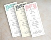 Wedding menu cards, printable wedding menu, diy wedding menus, wedding reception menus, tower menu, tea length menu, filigree, vintage, Jora