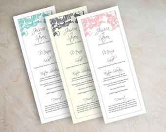 Wedding Menu Cards Printable Wedding Menu Diy Wedding Menus Wedding Reception Menus Tower