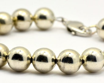 Sale / On Sale / Clearance Jewelry / Jewelry on Sale / Marked Down / Chunky Silver Plated Rounds Beaded Bracelet - BR00328