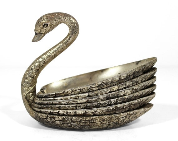 Silver swan candy amp nut dishes by ruggyrevival on etsy