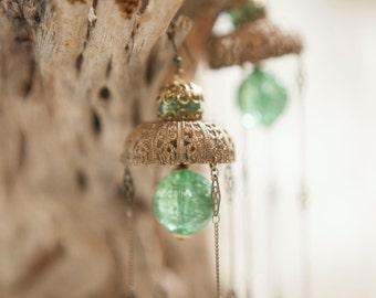 Jellyfish Statement Earrings-Ornate Vintage Gingerbread Brass-Sea Green Crackle Glass-Filigree Chain
