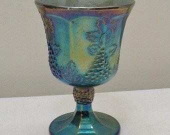 Vintage Indiana Glass Blue Carnival Harvest Grape Goblet