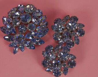 1950s Vintage Blue Topaz Crystal Demi Parure Brooch and Earring Set