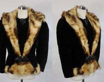 1930's Vintage Black Velvet Fur Coat with Bakelite Closures