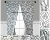 Grey Curtain Panels Modern Geometric Chevron Damask Drapery Window Treatments Set Pair