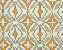 Orange Gray Floral Geometric Curtain Valance Drapery Window Treatments Drapes Modern Home Decor