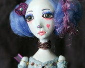 Art Doll Luna Eva One of a Kind OOAK hard sculpted with fabric lace dress Gothic Fantasy Blue dream