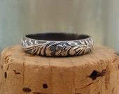 Oxidized Sterling Silver Stack Ring--Floral--Handcrafted--Sweet & Simple