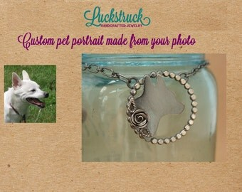 Custom Pet Portrait—Oxidized Sterling Silver Silhouette Necklace—Fine Silver Rose--Handcrafted Pet Memorial