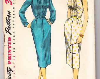 Vintage 1956 Simplicity 1654 Sewing Pattern Misses' One-Piece Dress Size 12 Bust 30