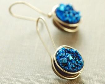 Sapphire Blue Druzy Crystal Earrings, 14k Gold Fill Druzy Earrings, Modern Minimal Drusy Jewelry