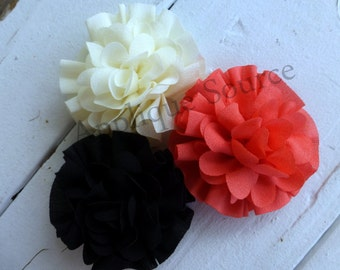 Soft Poly Chiffon Roses - Soft Fabric Blend w/ Finished Felt Circle for DIY Flower Clips, Headbands, Crafts & More