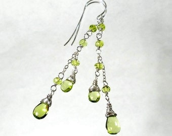 Green Peridot Earrings Peridot Drop Earring Peridot Cascade Earring August Birthstone