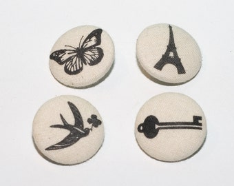 Vintage Cream and Black Print Canvas Buttons - Set of 4