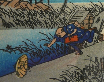 Japanese Woodblock Hiroshige Print Man Chasing Hat
