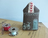 Tiny HOUSE brooch. Grey canvas with aqua blue door, bicycle and hearts