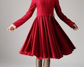 long sleeve dress,wool dress, fit and flare dress, red dress, midi dress, winter dress, mod dress, Custom made clothing, Gift ideas (1082)