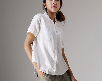 White linen blouse, short sleeve tops, casual blouse, custom made, plus size also available, short t shirt, made to order (98611)