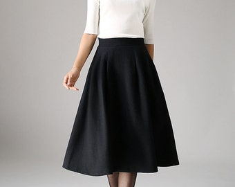 Black skirt, wool skirt, pleated skirt, winter skirt, retro skirt,midi skirt, knee length skirt, High Waisted skirt,flowy skirt,gift 1087
