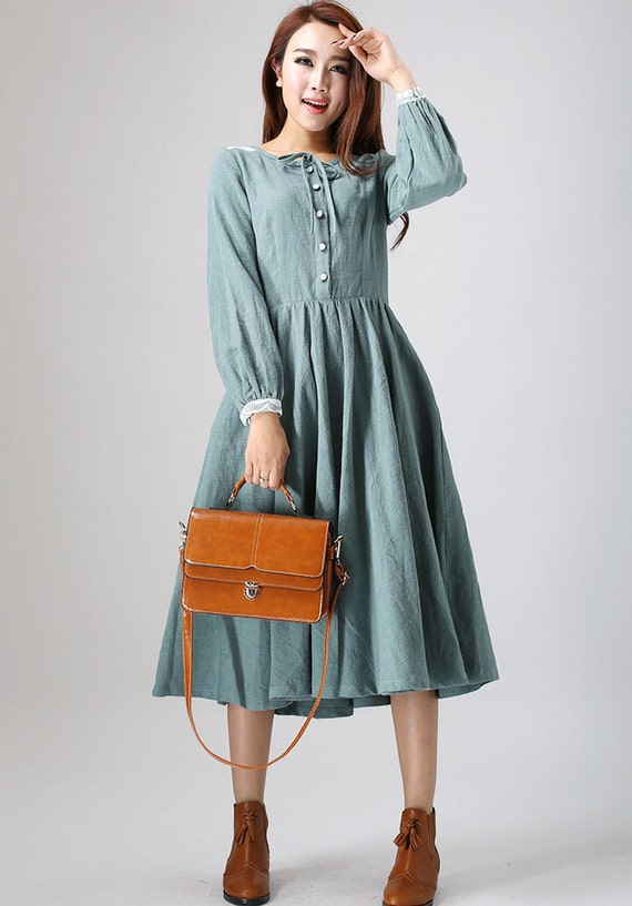 charming linen dress woman's midi dress with lace detail on shoulder and cuff custom made (794)