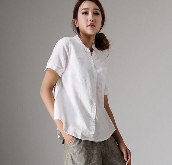 White Linen Short Sleeve Blouse 77