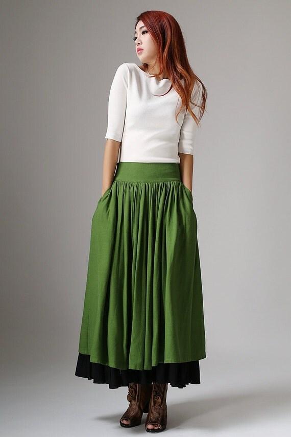 long linen skirt maxi skirt green skirt fall akirt womens
