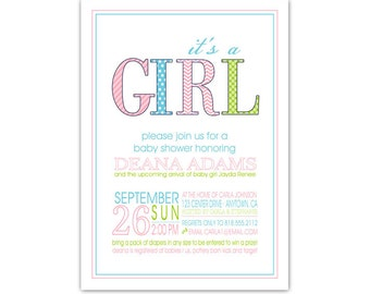 It's a Girl Baby Shower Invitation • Pink and Aqua Baby Girl Invite • PRINTED on CARDSTOCK