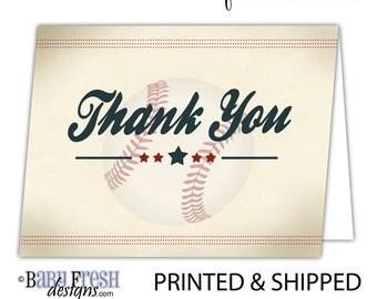 Vintage Baseball Birthday Thank You Cards • Flat or Folded notecards • SET OF 10