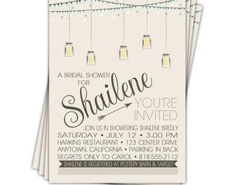 Digital File - Mason Jar invitation - Bridal shower invitation - Wedding shower invite //you can change the colors// - Shailene design