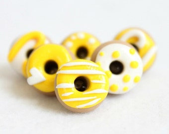 Bright Yellow Donut Pushpins, Set of 6