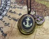 Anchor Locket - Antiqued Gold with Sailing Ship - Anchor Cameo Pendant - Anchor Necklace - Navy Blue & White Nautical Cameo - Sailing Ship