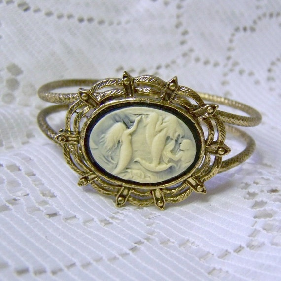 Mermaid Bracelet - Antiqued Gold Setting -Mermaid Cuff Bracelet - Mermaids At Sea Victorian Art Nouveau - LAST ONE