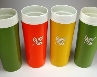 Retro 1970's Tall Thermal Tumblers in Orange, Yellow, Green with Silver Leaf, Set of Four,