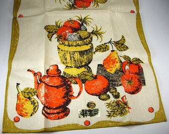 Free Shipping, 1960's Oranges, Walnuts and Pears Tea Towel, Orange and Yellow, All Pure Linen, Mid Century